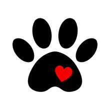 Trail Of Dog With Heart Isolat...