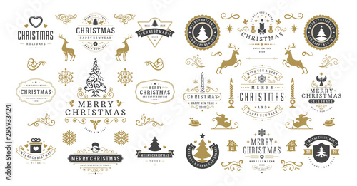 Fototapeta Christmas and happy new year wishes labels and badges set vector illustration obraz na płótnie