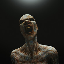 Creature From Another Planet, Weird Creature Or Zombie, 3d Rendering. Halloween