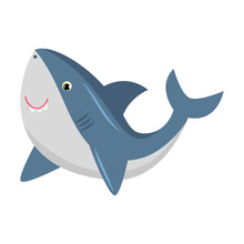 Cute Smiling Blue Shark. Vector Illustration Isolated On White Background
