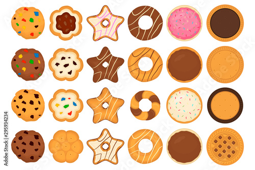 Illustration on theme big set different biscuit, kit colorful pastry cookie Canvas Print