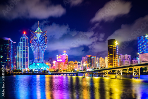 Macau cityscape at night, all hotel and tower are colorful lighten up with blue sky, Macau, China Canvas Print