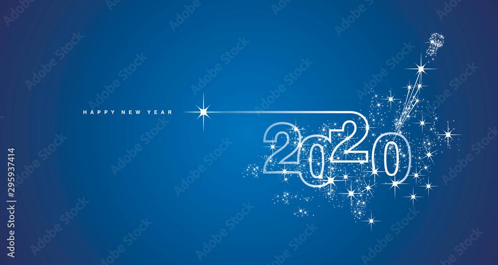 Fototapeta New Year 2020 line design firework champagne shining white blue vector