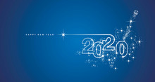 New Year 2020 Line Design Firework Champagne Shining White Blue Vector