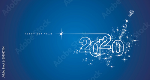 Fotografía  New Year 2020 line design firework champagne shining white blue vector