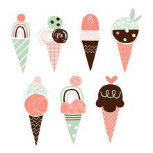 Cute Ice Cream Vector Illustrations Set. Doodle Yummy Gelato Simple Composition. Cartoon Dessert Drawings Pack. Squiggle, Zigzag, Line, Dot Elements. Scoop Ice Cream In Waffle Cone Icons Collection