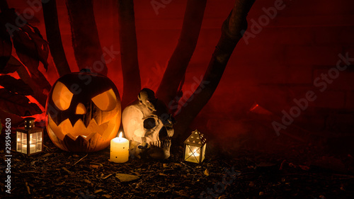 Halloween Pumpkin and skull surrounded by dark trees and red smoke