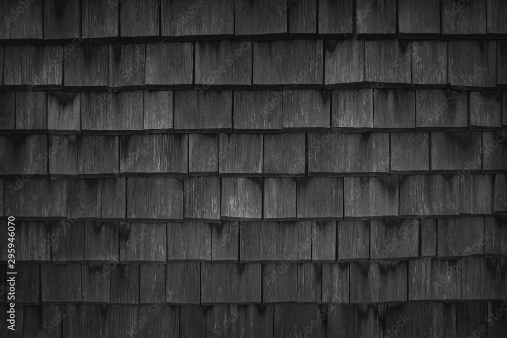 Fototapety, obrazy: Close up of black wood roof shingles