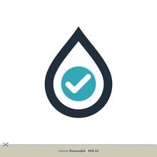 Droplet Check Mark Icon Logo T...