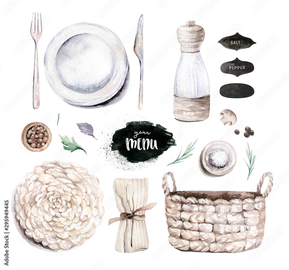 Fototapety, obrazy: Table setting, top view. Watercolor hand drawn illustrations type of plate, fork, spoon, knife, wooden cuttig board, pan, wooden backgraund texture. Olive oil, paper and textile napkin service.