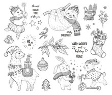 Christmas Cute Animals Lama Sl...