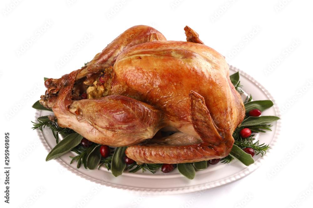 Fototapety, obrazy: Roast turkey isolated on white background, shallow focus