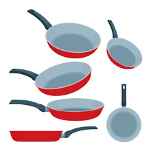 Frying Pan. Frying Pans Flat Vector Illustrations Set. Isometric Frying Pans Icons In Different Angles. Part Of Set.