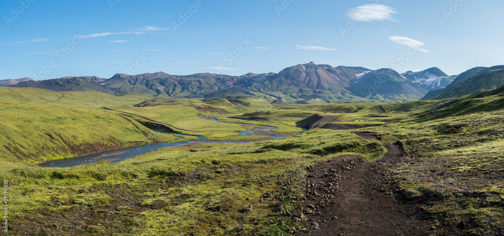 Fototapety, obrazy: Panoramic landscape with blue river stream, green hills, snow-capped mountains, meadow and lush moss. Laugavegur hiking trail. with Fjallabak Nature Reserve, Iceland. Summer blue sky
