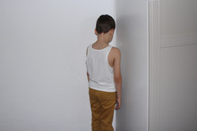 Punished For A Bad Deed The Boy Stands In The Corner, His Back, Educational Concept