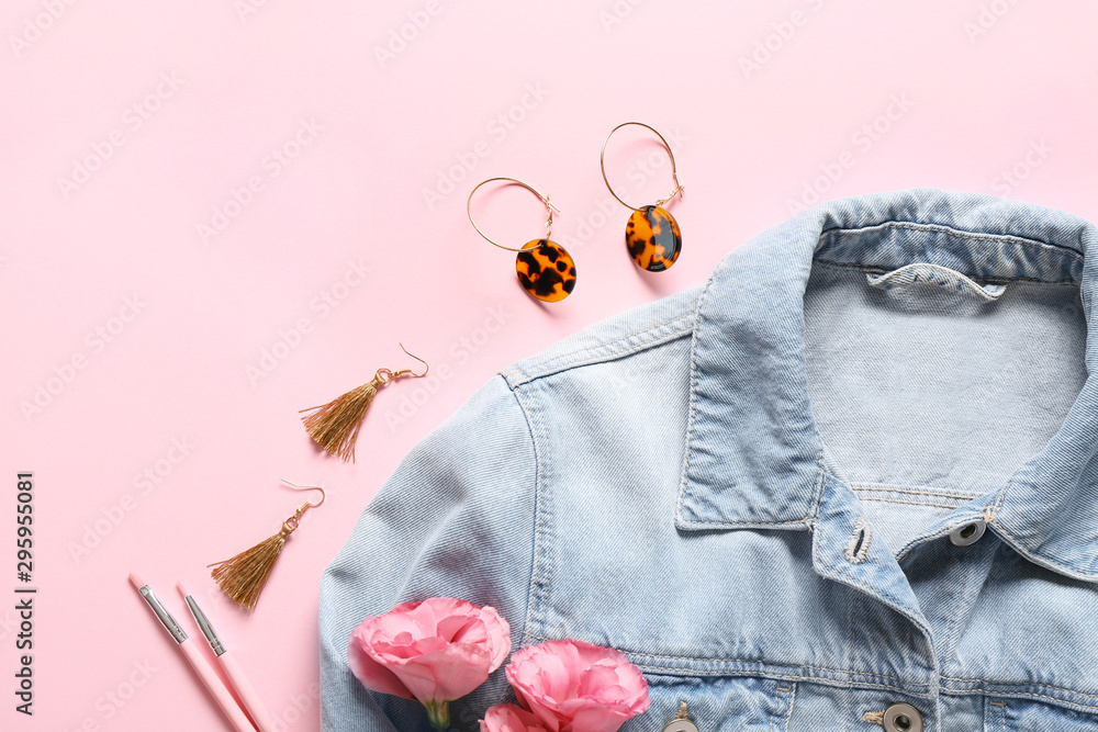 Fototapety, obrazy: Modern female jacket with stylish accessories on color background