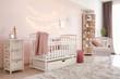 Leinwanddruck Bild - Interior of stylish children's room with baby bed
