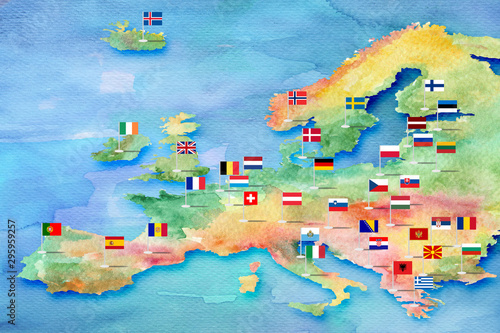 Obraz Sketch of the map of Europe painted with watercolor paints with flags of countries - fototapety do salonu