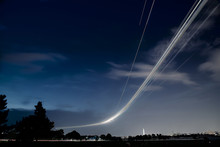 Light Trails Of An Ariplane Wi...