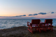 Two Chairs On The Beach Over L...