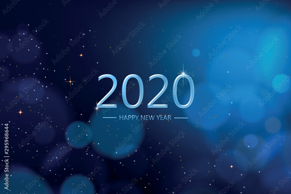 Fototapeta Happy new year 2020 with blue bokeh light sparkling on dark blue  background, Holiday greeting card