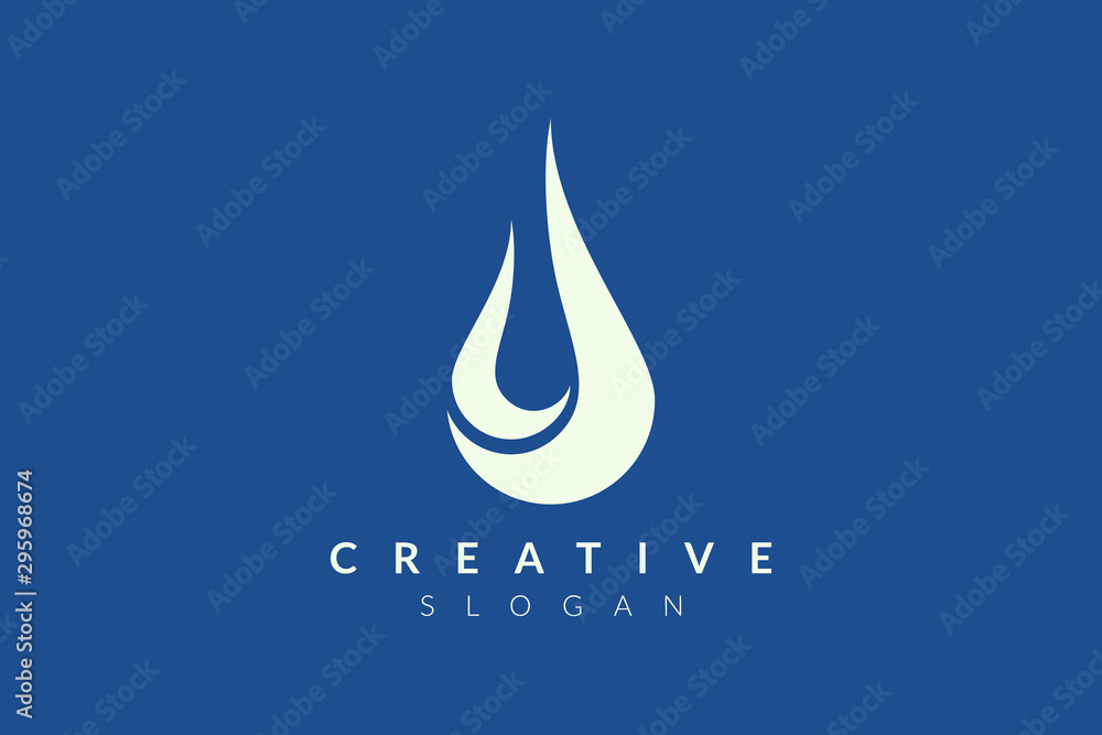 Fototapety, obrazy: Drops of water in abstract form. Minimalist vector design. Monogram and flat logo style. Modern icon and symbol.