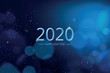 canvas print picture - Happy new year 2020 with blue bokeh light sparkling on dark blue  background, Holiday greeting card