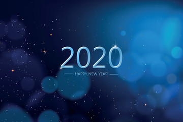Happy new year 2020 with blue bokeh light sparkling on dark blue  background, Holiday greeting card