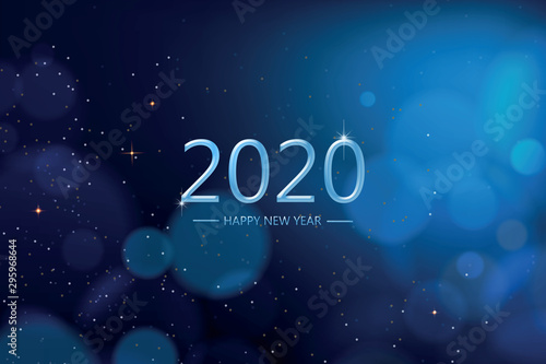 Fototapeta Happy new year 2020 with blue bokeh light sparkling on dark blue  background, Holiday greeting card obraz