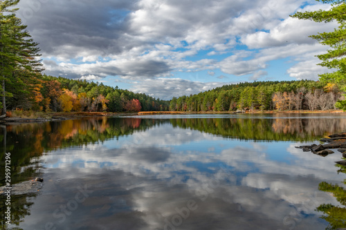 Spoed Foto op Canvas Donkergrijs Fall Scenery with mirrored reflections landscape
