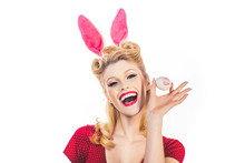 Lovely Woman In Rabbit Costume...