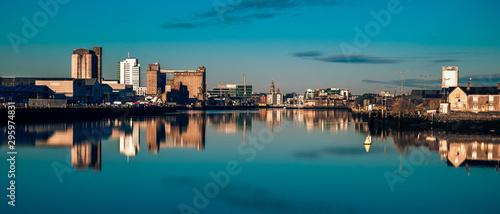 Cork Ireland city center harbor panorama view morning sunrise cold weather ca...