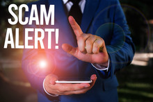 Text Sign Showing Scam Alert. ...