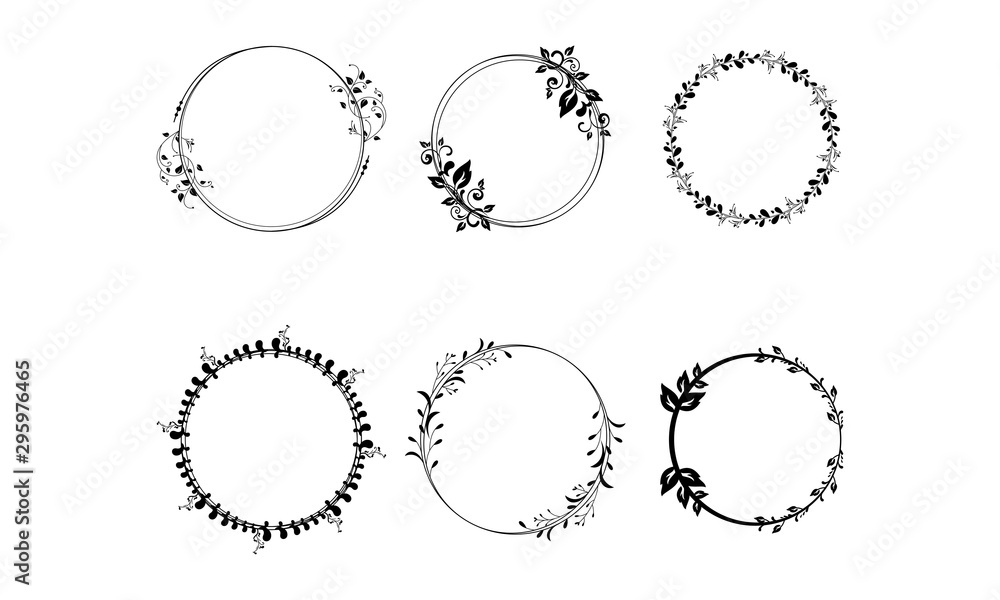 Fototapety, obrazy: Set of vector graphic circle frames. Wreaths for design, logo template