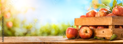 Fotomural  Apples on wooden table