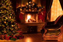 Christmas Decorated Interior With Fireplace, Armchair, Window And Tree
