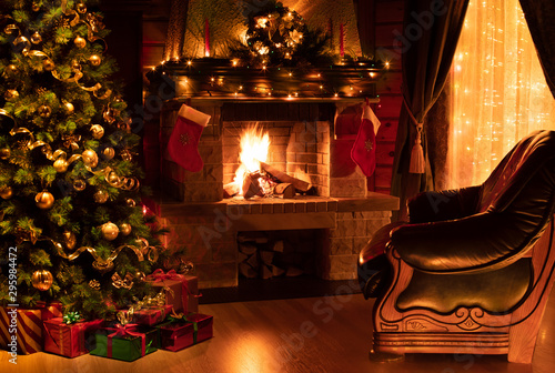Foto auf Gartenposter Baume Christmas decorated interior with fireplace, armchair, window and tree