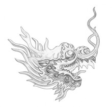 Head Dragon Painting Isolated ...