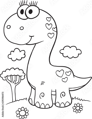 Spoed Fotobehang Cartoon draw Cute Dinosaur Illustration Vector Art