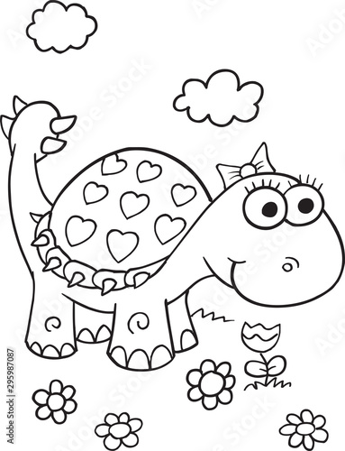 Spoed Fotobehang Cartoon draw Cute Dinosaur Vector Illustration Art