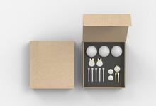 Blank Golf Accessory Gift Set Box For Branding. 3d Render Illustration.
