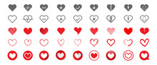 Set Of Hearts Icons In Different Styles. Big Collection Symbol Of Heart. Vector Illustration.