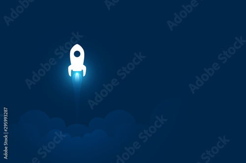 Startup business illustration, rocket launching, copy space composition Wallpaper Mural