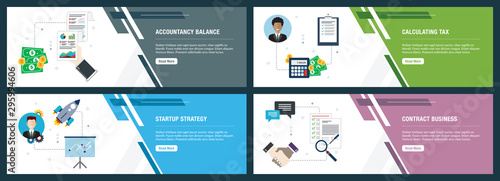 Photo Internet banner set of accountancy, tax and startup icons.