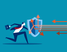 Business Attack Protection. Concept Business Defending Vector Illustration, Shield, Protect.