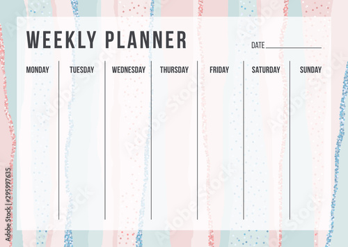 Obraz Stylish weekly planning template on striped background in pastel pink and blue colors. Modern organizer design for school and office. Vector illustration for daily target - fototapety do salonu