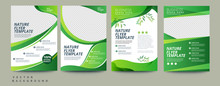 Vector Eco Flyer, Poster, Brochure, Magazine Cover Template. Modern Green Leaf, Environment Design. - Vector