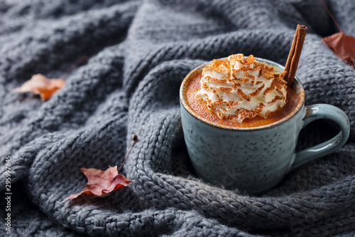 Fotografering Pumpkin latte with spices and whipped cream