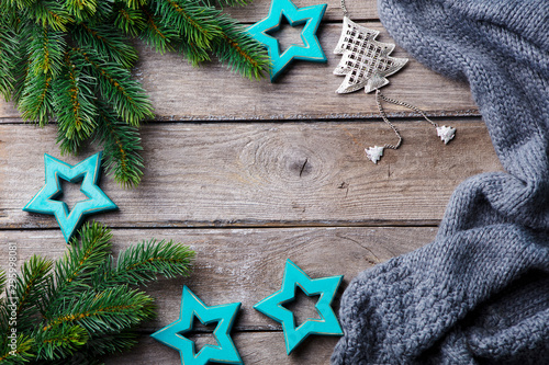 Foto auf Leinwand London Christmas decoration background with fir tree and ornaments. Wooden table. Top view.
