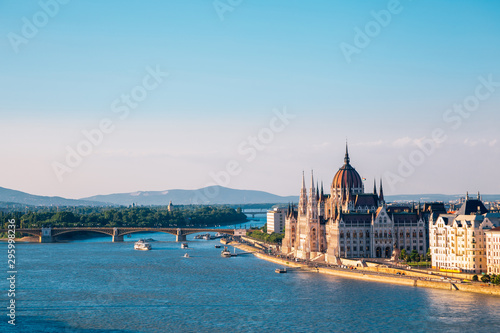 Hungarian Parliament Building and Margaret Bridge with danube river in Budapest, Hungary